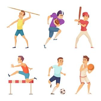 Векторные иллюстрации спортивных людей, играющих в игры
