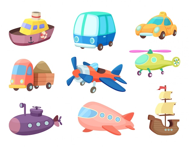 様々な交通機関の漫画イラスト。飛行機、船、車など。子供のためのおもちゃのベクトル写真