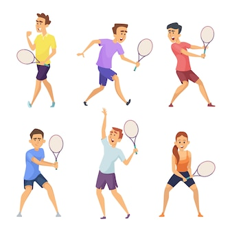 様々なテニス選手。アクションポーズのベクトル文字
