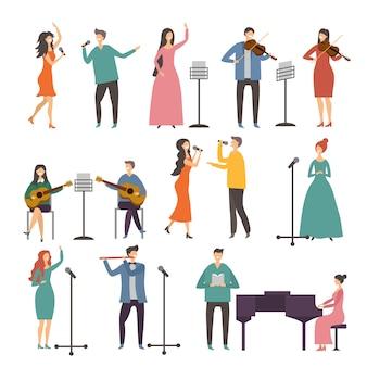 コンサートと音楽のグループ声楽デュエット。ミュージシャンと歌手の公演