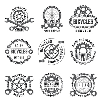 歯車、チェーンおよび自転車の他の部分とラベルのテンプレートデザイン