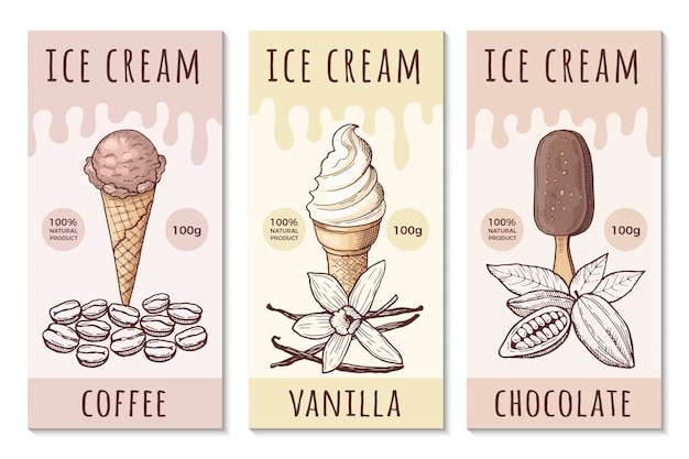Шаблон оформления наклеек мороженого с рисованной иллюстрацией