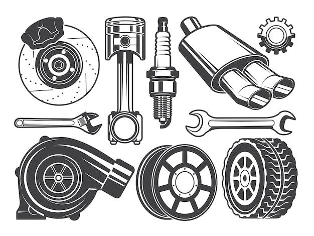 エンジン、ターボチャージャーシリンダーおよび他の自動車用具の白黒写真