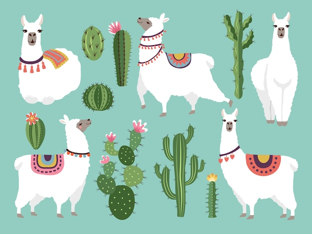 面白いラマのイラスト。フラットスタイルのベクトル動物