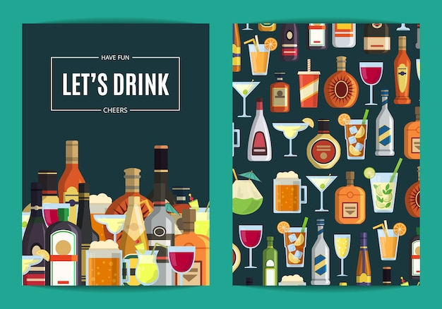 ベクトルカード、バー、パブ、または酒屋でメガネとボトルのアルコール飲料のチラシテンプレート。ウイスキーや飲み物のアルコールイラストレーション