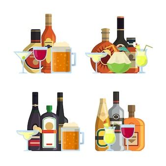 Векторные груды алкогольных напитков в очках и бутылках в плоском стиле установлены. бутылка алкоголя, напиток пиво пить иллюстрация