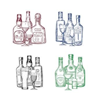 手のベクトルを設定描画アルコール飲料のボトルとグラス杭イラスト。ボトルドリンクアルコールスケッチ、ビール、コニャック