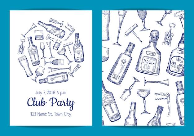 ベクトル手描きアルコールドリンクボトルとグラスのカード
