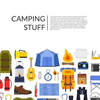 ベクトルフラットスタイルキャンプ要素背景イラストテキストのための場所