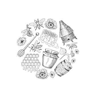 スケッチの輪郭を描かれた蜂蜜テーマ要素が円の図に集まった。蜂蜜スケッチ、食べ物甘い自然