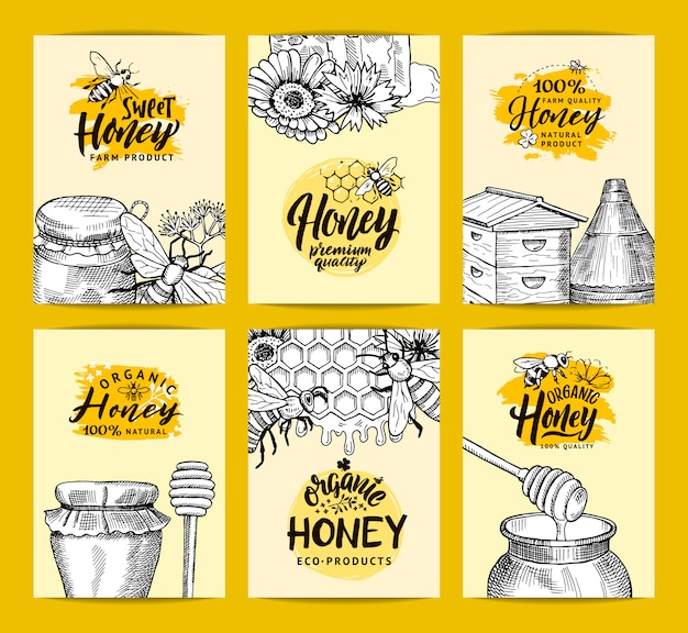 ハニーショップやスケッチの輪郭を描かれた蜂蜜のテーマの要素を持つファームのカードテンプレートセット手描き