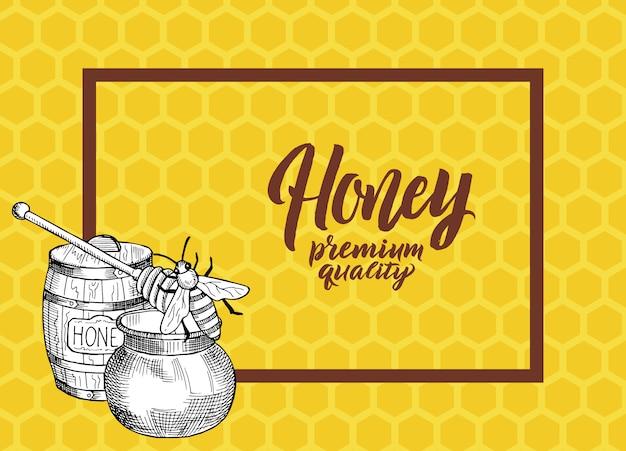 ハニカム構造の背景イラスト上のテキストとフレームのための場所でスケッチの輪郭を描かれた蜂蜜テーマ要素と背景