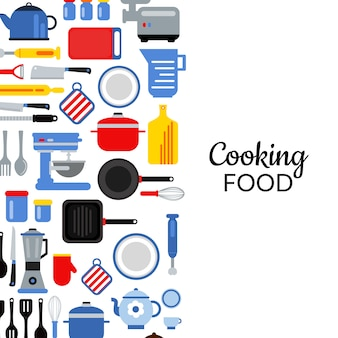 バナーとポスターのフラットスタイルの台所用品の背景イラストテキストのための場所
