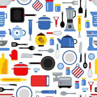 フラットスタイルの台所用品と色付きのシームレスなパターンまたは背景イラスト