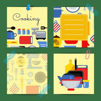 フラットスタイルの台所用品のイラスト入りかわいいノート