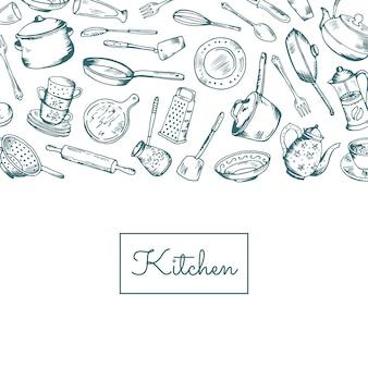テキストイラストのための場所で台所用品と背景