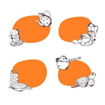 手描きキッチン用品イラスト付きのテキストのための場所とステッカーのセット