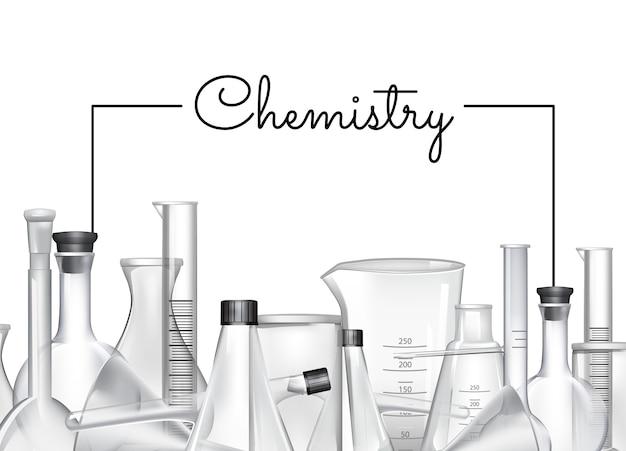 手のテキストと化学実験室ガラス管イラストのための場所で描かれたバナーやポスターの背景