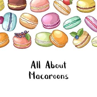色付きの手描きのマカロンとレタリングのイラストバナーの背景