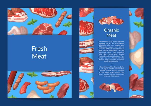 Мультяшная открытка с мясными кусочками, шаблон флаера для мясной лавки или мясная компания