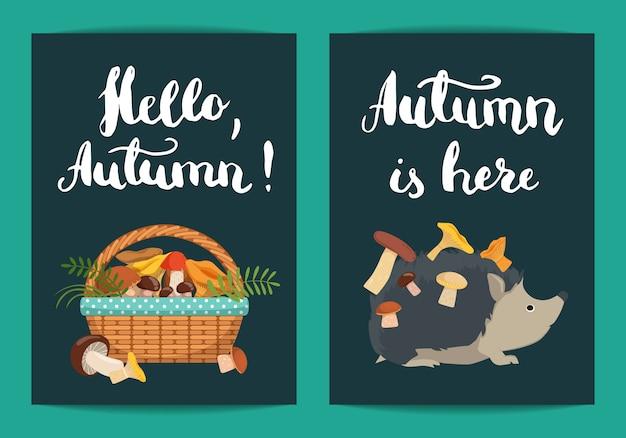 こんにちは秋。彼の背中にキノコとレタリングイラストとキノコの完全なバスケットとハリネズミ