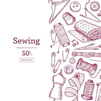 Рисованной швейные элементы фона иллюстрации с местом для текста
