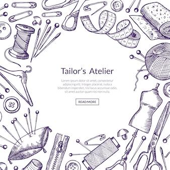 バナー手描き縫製要素背景イラスト中央のテキストのための場所