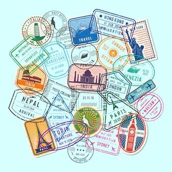 Мировые иммиграционные и почтовые марки песка, собранные в кучу иллюстрации