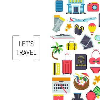 バナーベクトル色の平らな旅行要素のテキストのための場所と背景イラスト