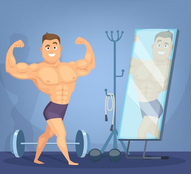 筋肉男が鏡の前でポーズ
