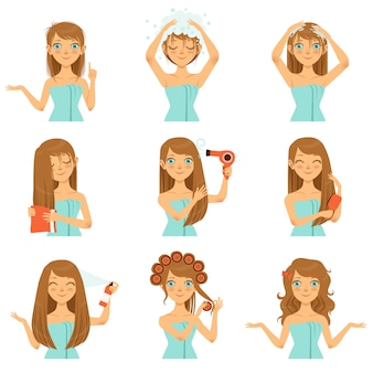 Здоровая защита волос, молодое мытье лица и длинные волосы