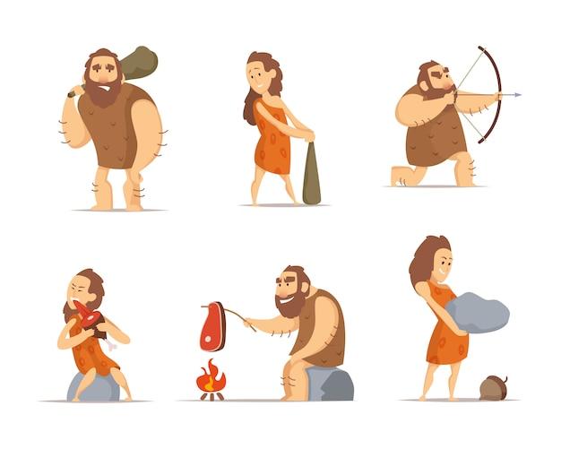 Первобытные пещерные люди из доисторического периода