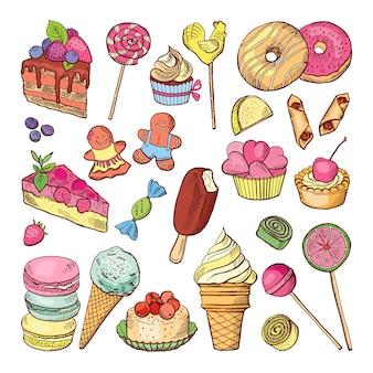 さまざまなアイスクリームのイラスト。シームレスパターンベクトル。チョコレートとワッフルアイスクリームのパターンの背景
