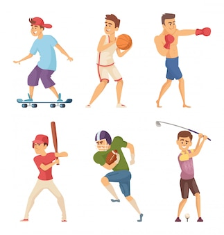 アクションポーズでさまざまなスポーツ活動のスポーツマン