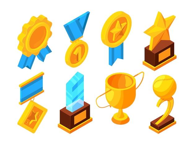 メダルとさまざまなスポーツトロフィー