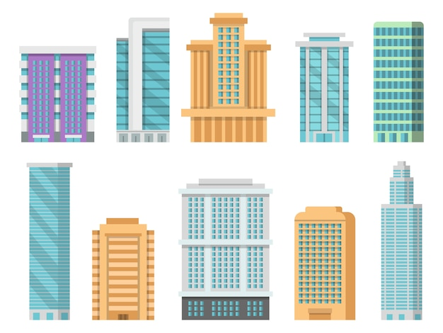 Плоские различные современные небоскребы и другие деловые здания