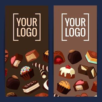 Вертикальная открытка с баннером и плакатом с мультяшными шоколадными конфетами