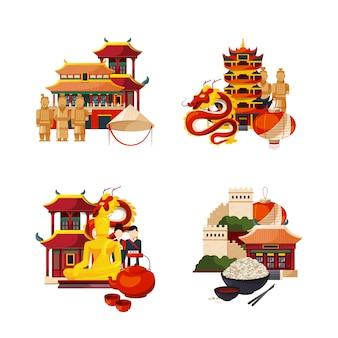 フラットスタイルの中国の要素と観光スポットの山、建物および建築のセット