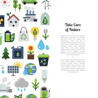 Экология плоский значок набор