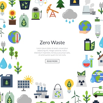 Экология плоские иконки, экология окружающей среды, природа энергии и ноль отходов
