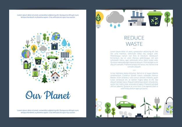 Шаблоны карточек или флаеров для с местом для текста и с набором плоских иконок экологии