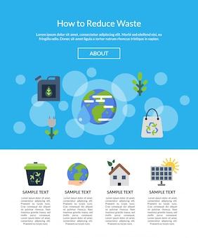 Баннер целевой страницы с плоскими иконками экологии