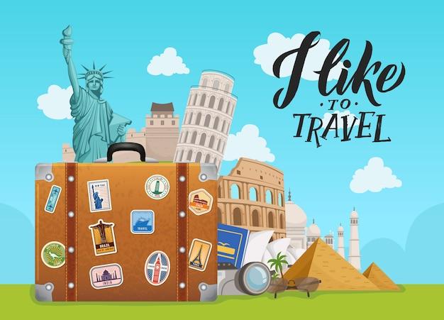 世界中の観光スポットが空のスーツケースから落ちて