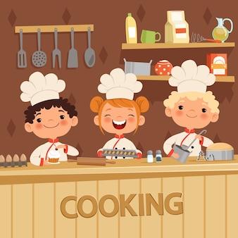 台所で食べ物を準備する子供たちの背景