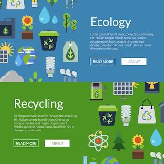 Баннер с экологии плоских иконок