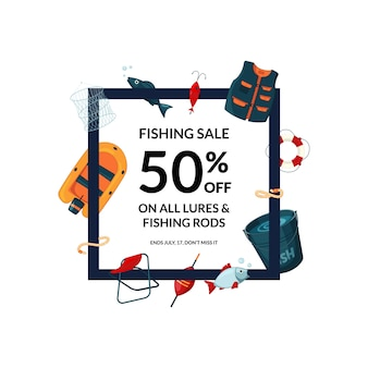 Рамка с мультфильмом рыболовного снаряжения