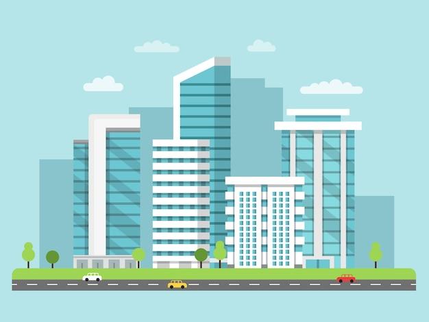 Городской пейзаж с современными зданиями
