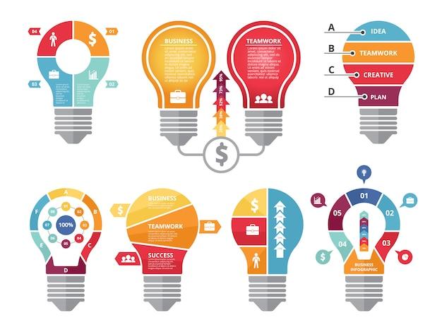 Различные инфографики формы лампочки освещения