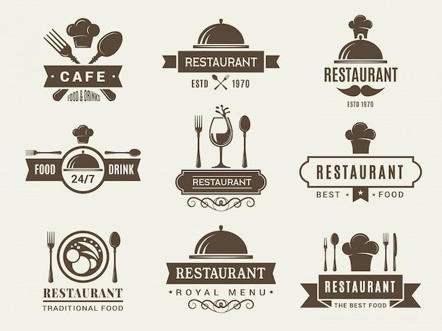 レストランのロゴセットとバッジ