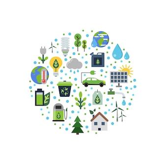 サークルに集まったエコロジーフラットアイコン